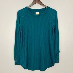 Chaser Thermal Button Cuff Tee Crew Neck Teal